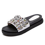 Mujer Zapatos PU Verano Zapatillas y flip-flops Tacón Plano Dedo redondo Banda Negro / Azul / Rosa IJHaQ4a