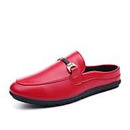 baratos Sapatos Masculinos-Homens Mocassim Couro de Porco Verão Tamancos e Mules Branco / Preto / Vermelho