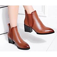 baratos Sapatos Femininos-Mulheres Pele Napa Outono / Inverno Conforto / Curta / Ankle Botas Salto Robusto Preto / Castanho Claro