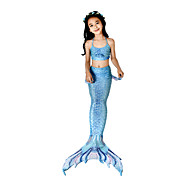 Mała syrenka Aqua Princess Bikini Kostium Dla dzieci Dla dziewczynek Vintage Święta Halloween Karnawał Festiwal/Święto Lycra Atramentowy Kostiumy karnawałowe Syrena