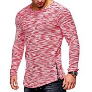 Rund hals Herre - Ensfarvet Bomuld Basale / Militær Plusstørrelser T-shirt / Langærmet
