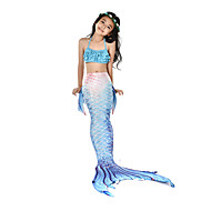 cheap -The Little Mermaid Aqua Princess Swimwear Bikini Costume Girls' Kid's Vintage Christmas Halloween Carnival Festival / Holiday Lycra Outfits Ink Blue Mermaid