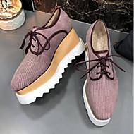 baratos Sapatos Femininos-Mulheres Sapatos Borracha / Pêlo Sintético Primavera / Verão Conforto Oxfords Creepers Ponta quadrada Branco / Verde Tropa / Rosa claro