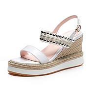 baratos Sapatos Femininos-Mulheres Sapatos Pele Napa Verão Conforto Sandálias Salto Plataforma Dedo Aberto Lantejoulas Branco / Preto