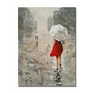 billiga Människomålningar-Hang målad oljemålning HANDMÅLAD - Människor Samtida Moderna Inkludera innerram / Sträckt kanfas