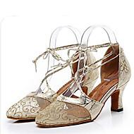 billige Moderne sko-Dame Moderne sko Blonder Høye hæler Slim High Heel Dansesko Gull / Svart / Sølv