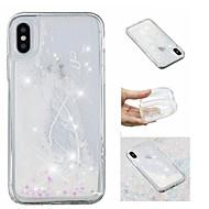 billiga Mobil cases & Skärmskydd-fodral Till Apple iPhone X / iPhone 8 Plus Flytande vätska / Mönster / Glittrig Skal Fjädrar / Glittrig Mjukt TPU för iPhone X / iPhone 8 Plus / iPhone 8