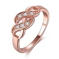 Dame Kvadratisk Zirconium Stilfuldt Ring - Rødguldbelagt, S925 Sterling Sølv 6 / 7 / 8 Rose Guld Til Arbejde / Fødselsdag