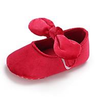 baratos Sapatos de Menina-Para Meninas Sapatos Sintéticos Primavera & Outono Conforto / Primeiros Passos / Sapatos de Berço Rasos Laço / Colchete para Bebê Cinzento / Vermelho / Rosa claro / Casamento / Festas & Noite