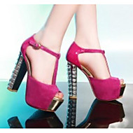 Women's Shoes Suede Spring / Summer Comfort / Basic Pump Heels Chunky Heel Black / Fuchsia / Blue