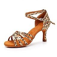 billige Sko til latindans-Dame Sko til latindans Sateng Høye hæler Leopard Slim High Heel Kan spesialtilpasses Dansesko Leopard