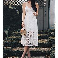 Γυναικεία Πάρτι Μπόχο Λεπτό Θήκη Φόρεμα - Μονόχρωμο, Δαντέλα Μίντι Βαθύ V