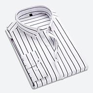 男性用 ワーク シャツ ビジネス / ベーシック レギュラーカラー ストライプ ルビーレッド XXXL / 長袖