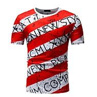 Herre - Farveblok / Bogstaver Trykt mønster Basale T-shirt Sort & Rød