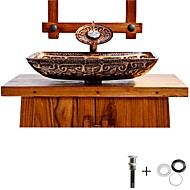 Bathroom Sink / Bathroom Faucet / Bathroom Mounting Ring Antique - Tempered Glass Rectangular