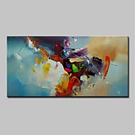billige Nyheter-Hang malte oljemaleri Håndmalte - Abstrakt Moderne Uten Indre Ramme / Valset lerret