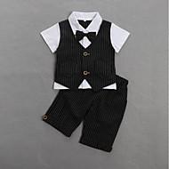 赤ちゃん 男の子 活発的 / ベーシック 日常 / 誕生日 ストライプ 半袖 レギュラー コットン アンサンブル ブラック / 幼児