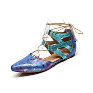 billige Moderne sko-Dame Moderne sko Lær Flate Flat hæl Dansesko Svart / Rød / Grønn / Trening