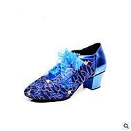 Χαμηλού Κόστους Παπούτσια Swing-Γυναικεία Παπούτσια για Swing PU Τακούνια Πυκνό τακούνι Παπούτσια Χορού Μαύρο / Μπλε / Εξάσκηση