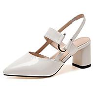baratos Sapatos Femininos-Mulheres Sapatos Pele Primavera Verão Conforto Sandálias Salto Robusto Dedo Apontado Branco