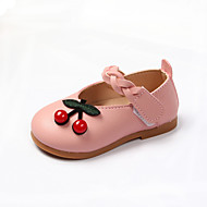 billige Sko til blomsterpiger-Pige Sko PU Forår sommer Sko til blomsterpiger Fladsko Gang Spænde for Baby Hvid / Sort / Lys pink