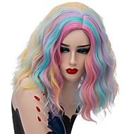 Paryk Tilbehør Bølget Pink Mellemdel Syntetisk hår Moderigtigt Design Blåt / Pink Paryk Dame Kort Lågløs Regnbue
