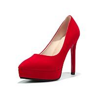 baratos Sapatos Femininos-Mulheres Sapatos Camurça Outono & inverno Plataforma Básica Saltos Salto Agulha Dedo Apontado Preto / Vermelho / Festas & Noite