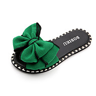 baratos Sapatos de Menina-Para Meninas Sapatos Lona Verão Conforto Chinelos e flip-flops Laço para Adolescente / Bebê Preto / Verde / Rosa claro / Botas Curtas / Ankle