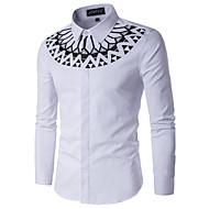 Herre - Geometrisk Bomuld, Trykt mønster Basale Skjorte / Langærmet