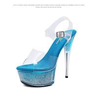 baratos Sapatos Femininos-Mulheres Sapatos PVC Verão Chanel / Shoe transparente Sandálias Salto Alto de Cristal Peep Toe Cristais / Presilha Roxo / Fúcsia / Azul / Festas & Noite