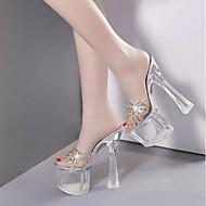 baratos Sapatos Femininos-Mulheres Sapatos Couro Ecológico Primavera Conforto Sandálias Heel translúcido Prateado