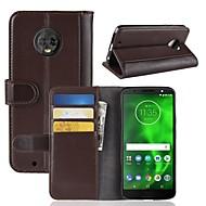 billiga Mobil cases & Skärmskydd-fodral Till Motorola MOTO G6 / Moto G6 Play Plånbok / Korthållare / Lucka Fodral Enfärgad Hårt Äkta Läder för Moto Z2 play / Moto X4 / MOTO G6
