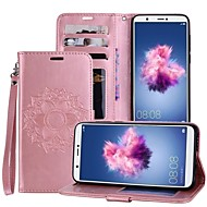billiga Mobil cases & Skärmskydd-fodral Till Huawei P smart / Enjoy 7S Korthållare / med stativ / Lucka Fodral Mandala Hårt PU läder för P smart / Huawei Enjoy 7S