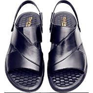 povoljno -Muškarci Udobne cipele Koža Ljeto Ležerne prilike Sandale Crn / Braon