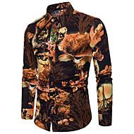 קולור בלוק רזה סגנון רחוב / סגנון סיני מועדונים מידות גדולות פשתן, חולצה - בגדי ריקוד גברים דפוס / שרוול ארוך