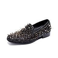 baratos Sapatos de Tamanho Pequeno-Homens Sapatas de novidade Sintéticos Outono Oxfords Listrado Preto / Casamento / Festas & Noite