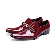 baratos Sapatos de Tamanho Pequeno-Homens Sapatas de novidade Pele Napa Outono Oxfords Listrado Preto / Vinho / Casamento / Festas & Noite