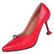 baratos Sapatos Femininos-Mulheres Couro Ecológico Verão Plataforma Básica Saltos Salto Agulha Dedo Apontado Preto / Bege / Vermelho / Festas & Noite