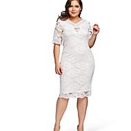 Plus Size Lace Dress White Women's Party Going out Dress Solid Colored V Neck Fall White XXXL XXXXL XXXXXL