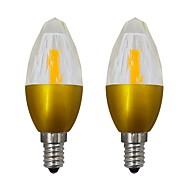billige Stearinlyslamper med LED-2pcs 5.5 W 150-200 lm E14 LED-lysestakepærer 19 LED perler COB Dekorativ Varm hvit / Kjølig hvit 85-265 V