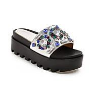 baratos Sapatos Femininos-Mulheres Sapatos Couro Ecológico Primavera Verão Conforto Chinelos e flip-flops Creepers Preto / Prateado