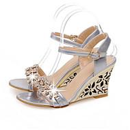 Mulheres Sapatos Confortáveis Sintéticos Verão Sandálias Salto Plataforma Branco / Prata / Azul