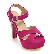 baratos Sapatos Femininos-Mulheres Sapatos Camurça Primavera Verão Conforto Sandálias Salto Robusto Preto / Vermelho / Amêndoa
