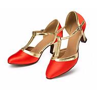 billige Moderne sko-Dame Moderne sko Sateng Høye hæler Slim High Heel Dansesko Rød
