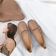 baratos Sapatos Femininos-Mulheres Couro Ecológico Outono Conforto Rasos Sem Salto Ponta quadrada Bege / Castanho Claro