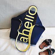 baratos Bolsas de Ombro-Mulheres Bolsas Tela de pintura Bolsa de Ombro Ziper Branco / Preto / Khaki