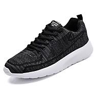 baratos Sapatos Masculinos-Homens Tricô / Tecido elástico Outono Conforto Tênis Corrida Estampa Colorida Preto / Azul / Vinho