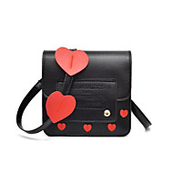 Women's Bags PU(Polyurethane) Mobile Phone Bag Buttons Black / Red