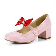 tanie Obuwie damskie-Damskie Komfortowe buty Skóra patentowa Wiosna Szpilki Gruby obcas Biały / Czarny / Różowy