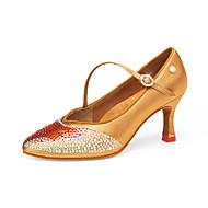 billige Moderne sko-Dame Moderne sko Sateng Høye hæler Kubansk hæl Dansesko Svart / Gul / Brun